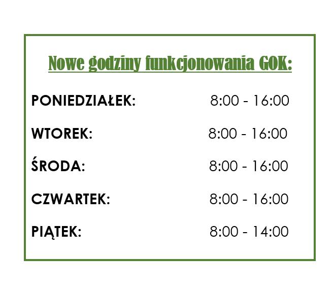 Nowe godziny funkcjonowania GOK w Słuzewie