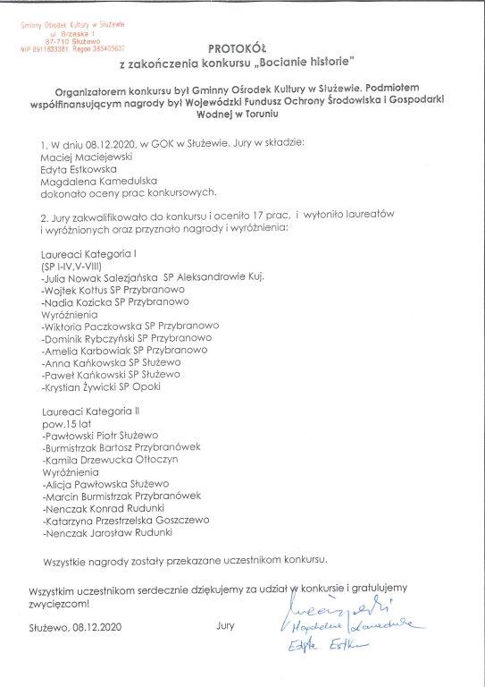 """""""Bocianie historie"""" – wyniki konkursu"""