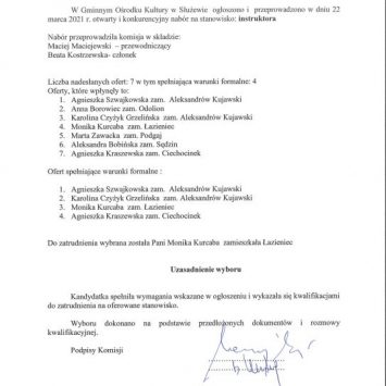 Wyniki naboru na wolne stanowisko instruktora w Gminnym Ośrodku Kultury w Służewie