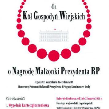 Zapraszamy Koła Gospodyń do udziału w ogólnopolskim konkursie pod Patronatem Honorowym Małżonki Prezydenta RP