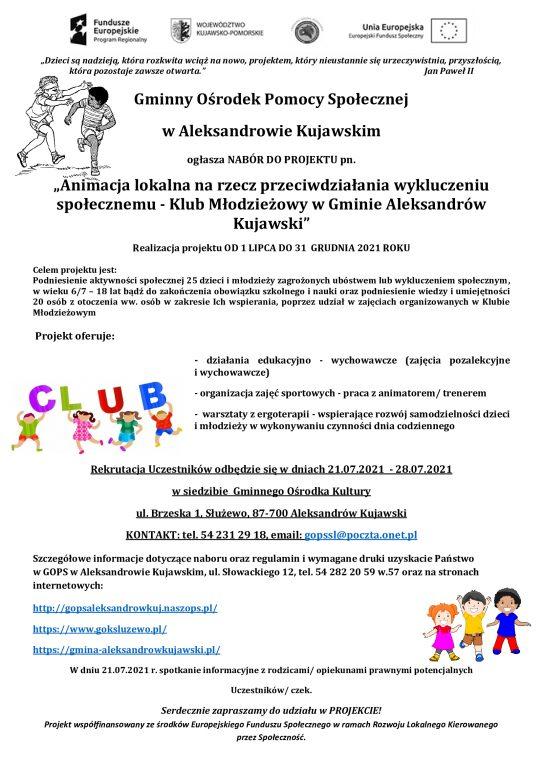 Animacja lokalna na rzecz przeciwdziałania wykluczeniu społecznemu – Klub Młodzieżowy w Gminie Aleksandrów Kujawski