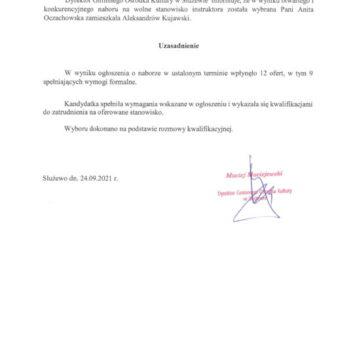 Ogłoszenie o wyniku naboru na wolne stanowisko sekretarki w GOK Służewo